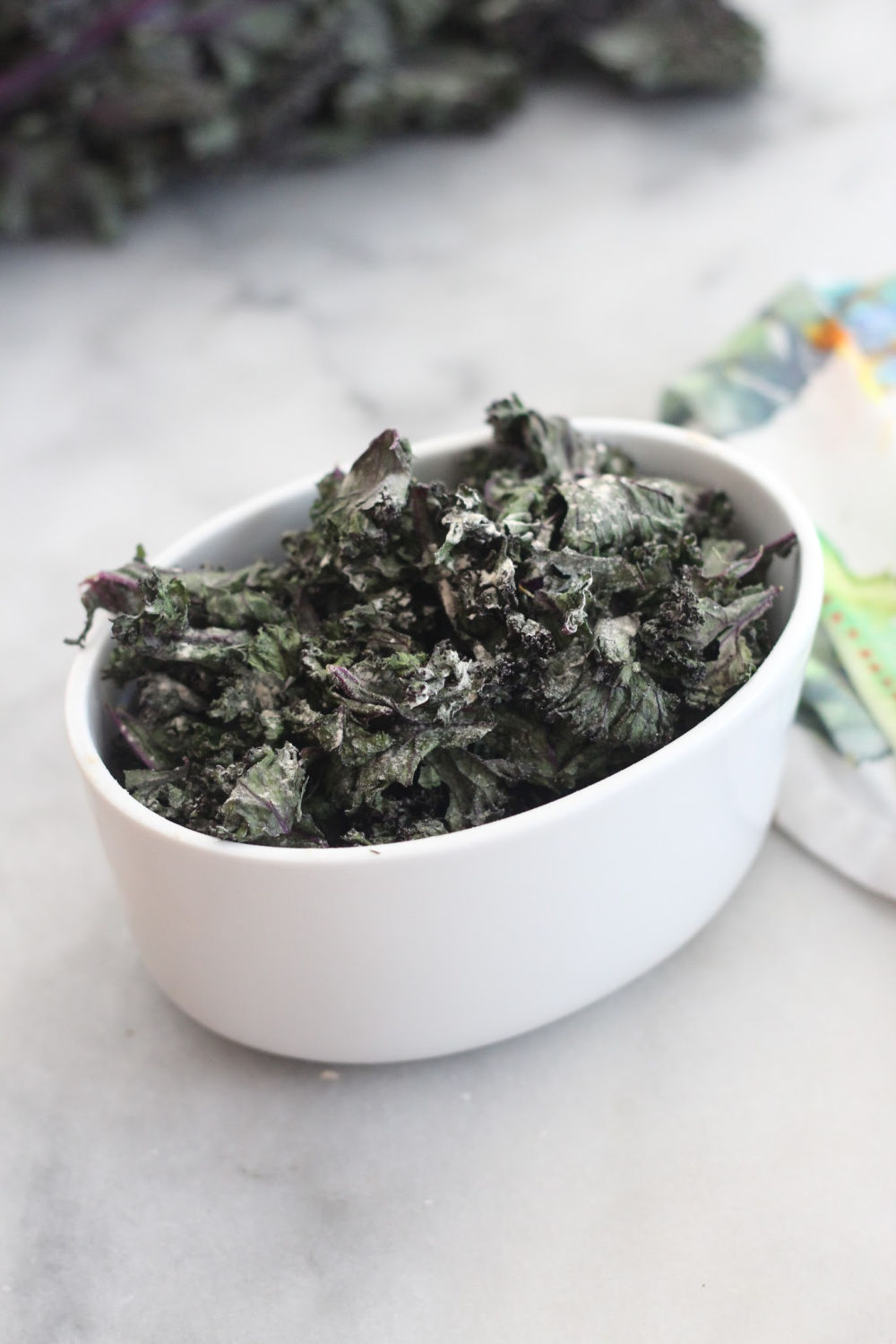 salt and vinegar kale chips in bowl