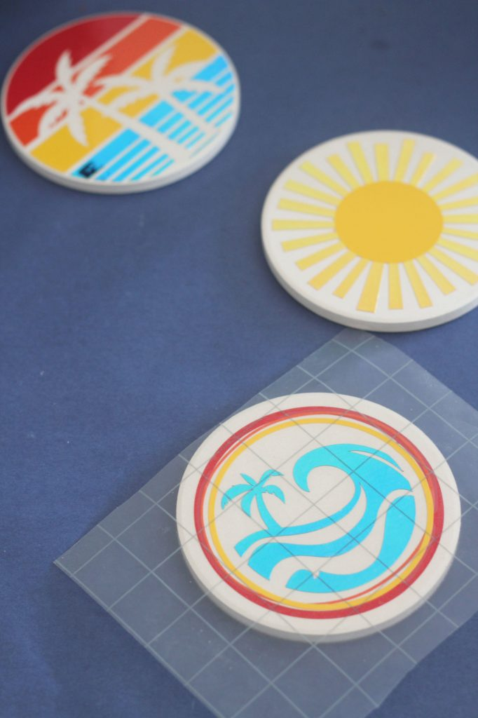 Adhesive vinyl summer fun coasters