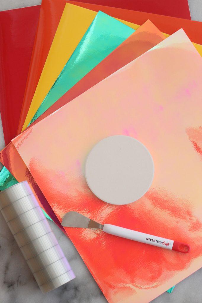 Adhesive vinyl, ceramic coasters
