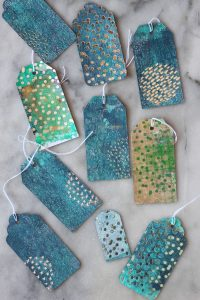 Hot foiled gel printed gift tags