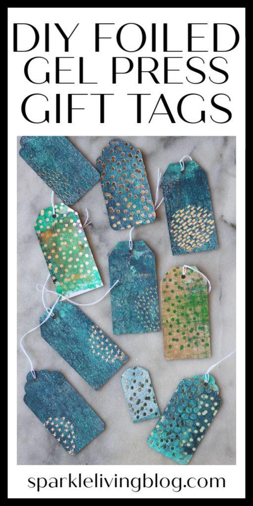 DIY foiled gel press gift tags pin