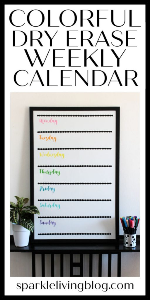 Get organized for the new school year with this colorful and fun dry erase weekly calendar that you can make today! Pick out your favorite colors of vinyl and make it your own! #sparklelivingblog @styletechcraft