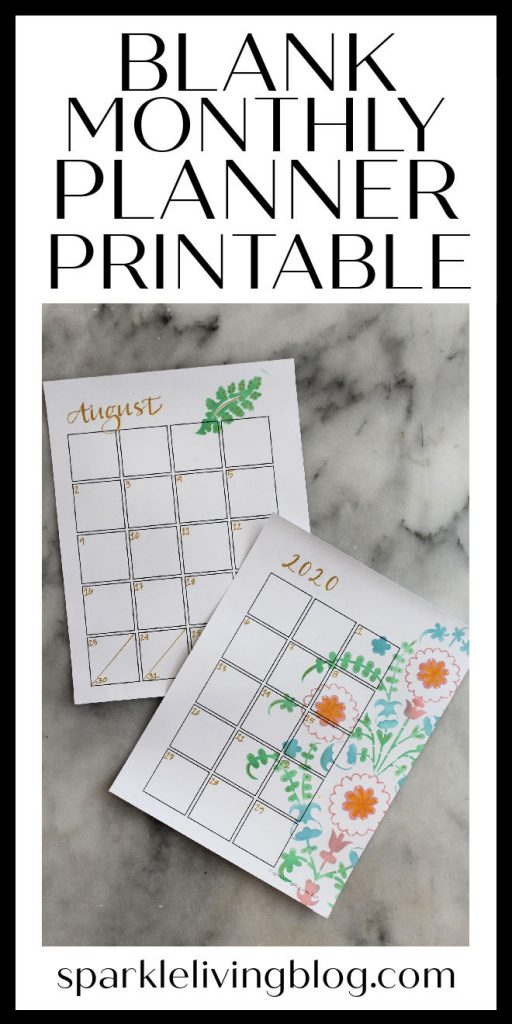 Keep track of your schedule in one place with this free printable monthly calendar for your planner. It's blank so that you can decorate it yourself!