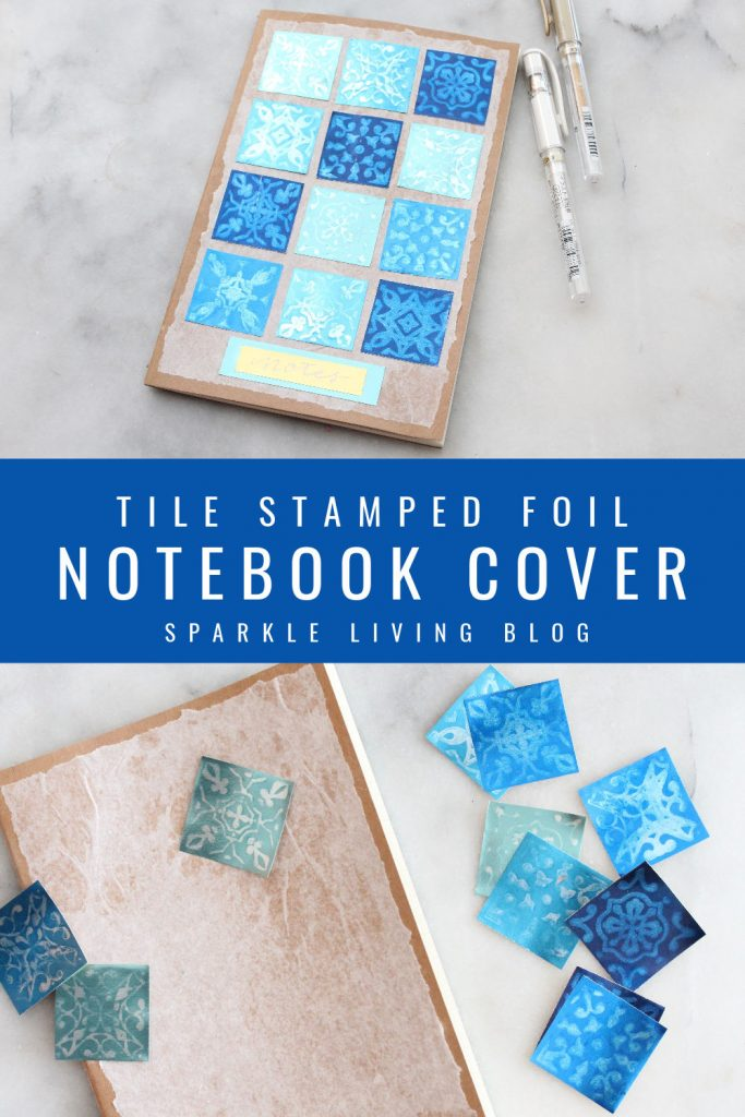 Blue tile stamped foil notebook cover using Rinea foiled paper pack in Shades of Blue, Ghost Ink and stamps from Altenew. This design makes a perfect card, notebook cover or small wall art piece!