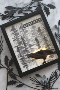 The raven lighted decor with Rinea foiled raven and tree stencils