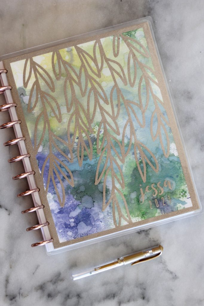 Watercolor planner cover with platinum vinyl willows.