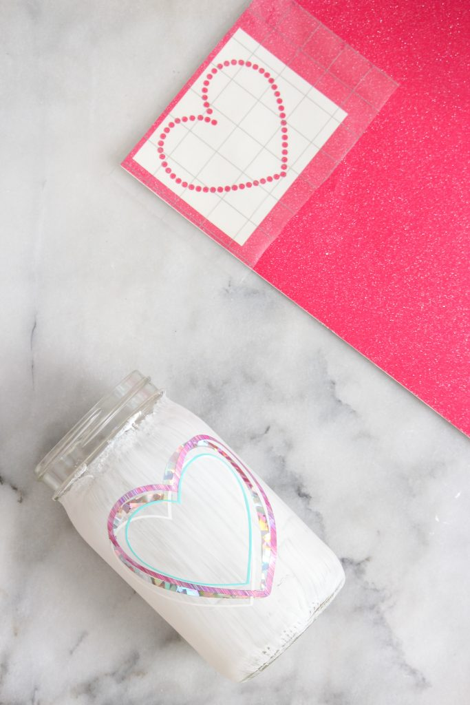 vinyl dotted heart and transfer tape