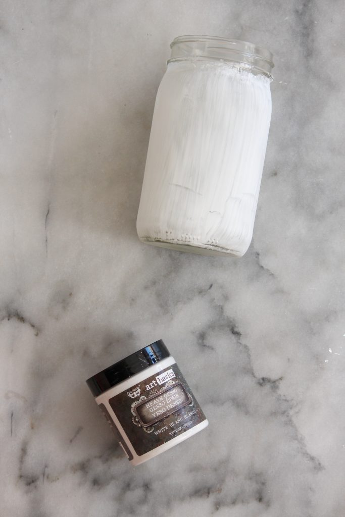 jar covered with heavy gesso