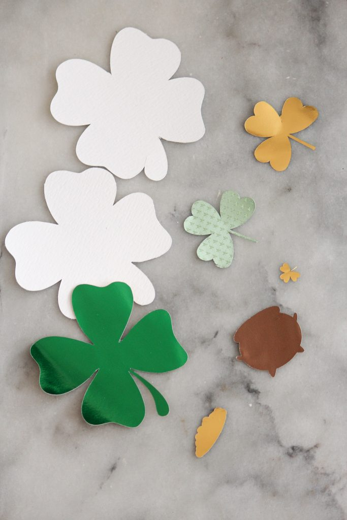 Shamrock gift tag cut outs.