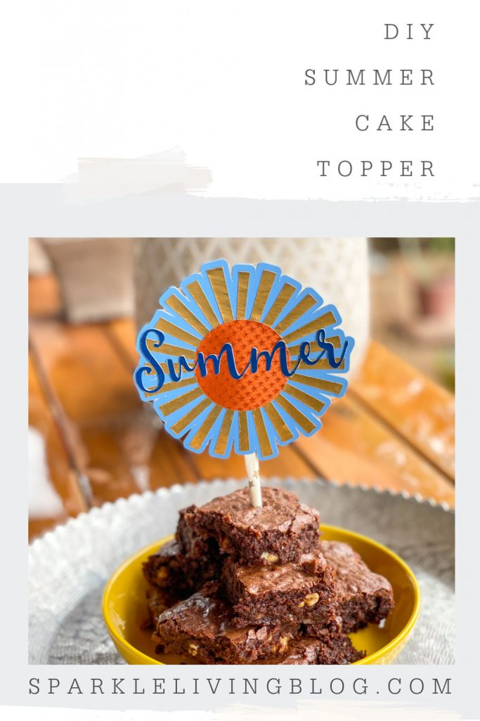 Image with summer cake topper text and square image of summer cake topper in brownies.