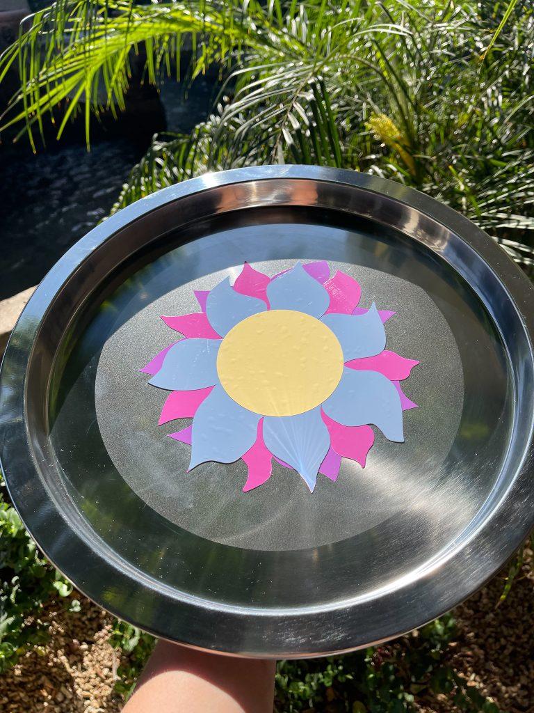 Sun vinyl tray in the sunlight.