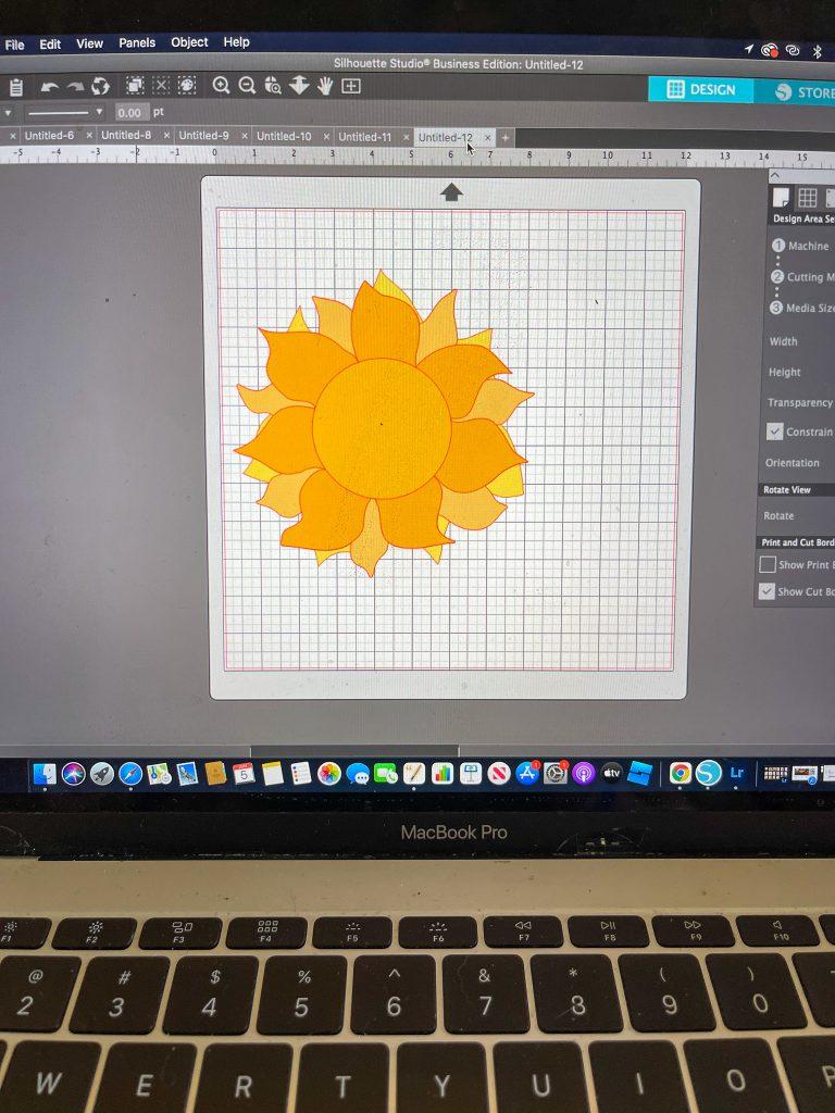 Layered Sun SVG in Silhouette studio