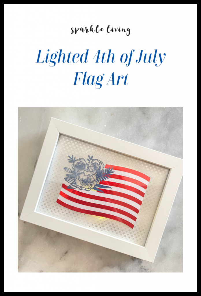 this image has text saying lighted 4th of july flag art and sparkle living with a square image of the flag art.